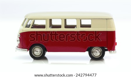 SWINDON, UK - MAY 25, 2014:Classic Old VW Camper Made By Corgi on a White Background - stock photo