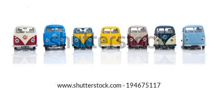 SWINDON, UK - MAY 25, 2014: Collection Of  Old VW Vans Made By Corgi on a White Background - stock photo