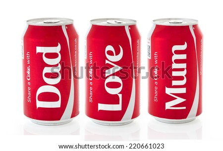SWINDON, UK - MAY 10, 2014: Three Cans of Coca-Cola, share a Coke Wit Mum, Dad, Love on a white background produced for the 2014 Share a Coke promotion - stock photo