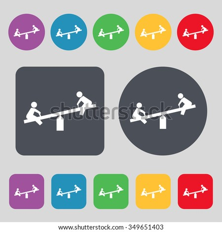 swing icon sign. A set of 12 colored buttons. Flat design. illustration - stock photo