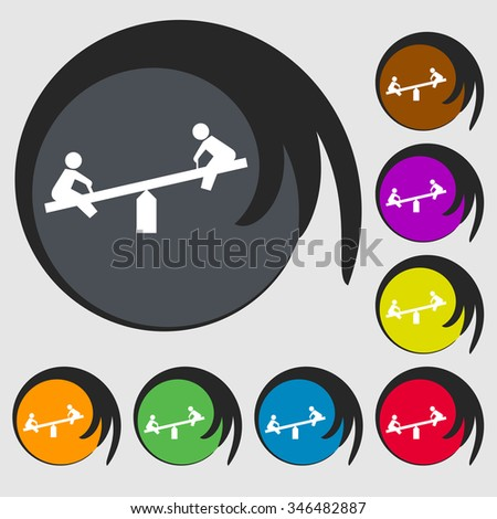 swing icon sign. Symbol on eight colored buttons. illustration - stock photo