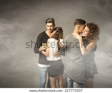 swinger club situation for infidelity couples - stock photo