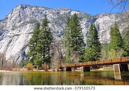 Swinging Bridge Picnic Area, Yosemite National Park, USA - stock photo