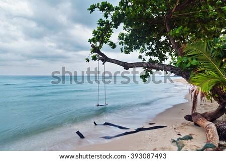 Swings and tree on the sand tropical beach. Fisheye look - stock photo