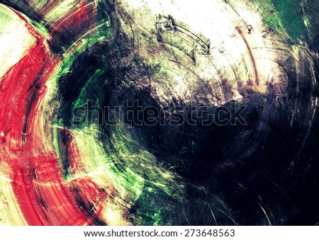 Swirl of red, green and black colors. Artistic texture of bright paints. Abstract pattern. Modern futuristic background for wallpaper, flyer cover, poster. Fractal art for creative graphic design. - stock photo
