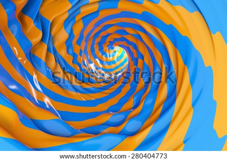 Swirl wave lines tube or making blue and orange background - stock photo