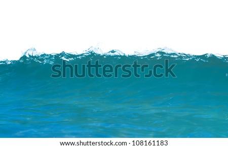swirled blue colored sea wave - stock photo