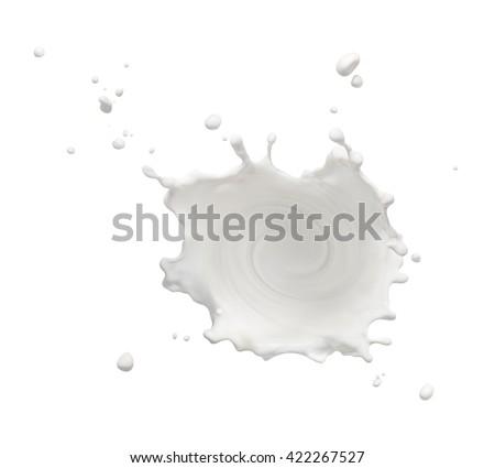 swirling milk splash isolated on white background - stock photo