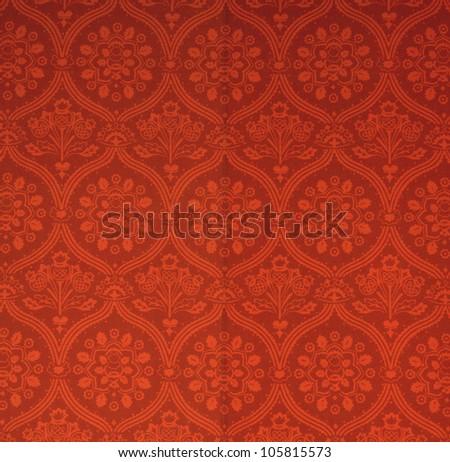 Swirly floral retro wallpaper - stock photo