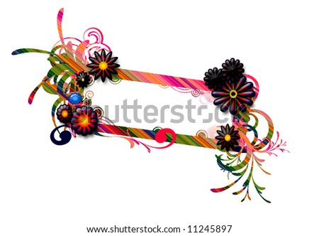 swirly stylish frame with natural flower elements - stock photo
