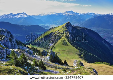 Swiss Alps. Mountain peaks near the resort of Leysin, on a sunny day - stock photo