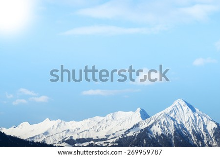 Swiss Alps. Snow Capped Mountain in Switzerland - stock photo