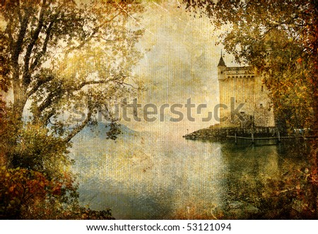 swiss castle beside autumn lake- artistic vintage picture - stock photo