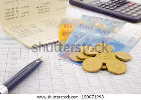 Swiss currency and paper money of Switzerland, saving account and money concept - stock photo
