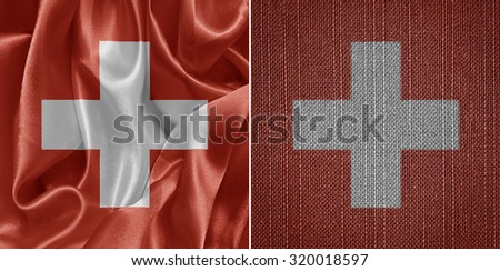 Swiss fabric flags, set - stock photo