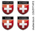 Swiss flag emblem - stock photo
