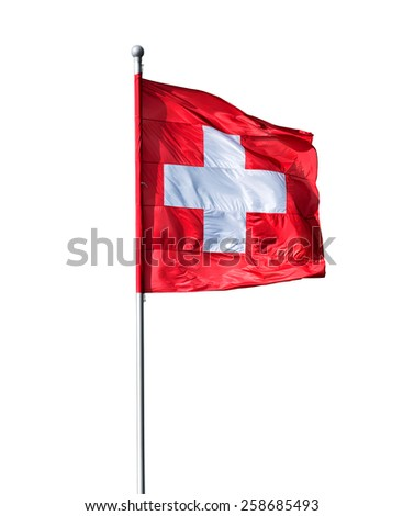 Swiss flag isolated on a white background - stock photo