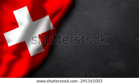 swiss flag on a chalkboard - stock photo