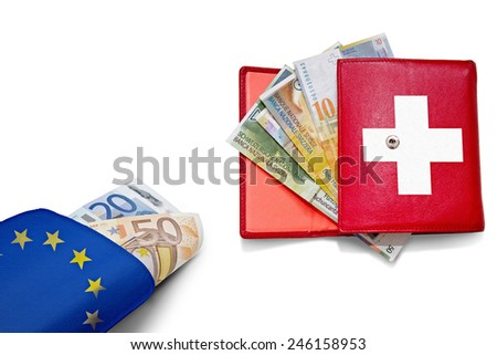 Swiss franc and Euro wallets with national colors banners overlay - stock photo