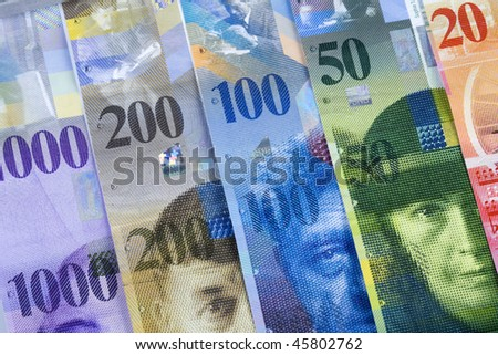 Swiss Franc bills background - stock photo
