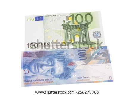 Swiss francs and euros isolated - stock photo