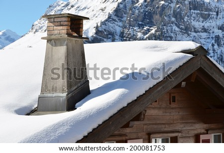 Swiss holiday cottage - stock photo