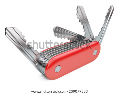 Swiss knife with keys set.  security concept isolated on a white background - stock photo