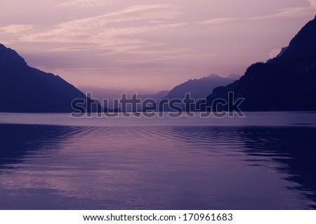 swiss lake at sunset in brienz, Switzerland - stock photo