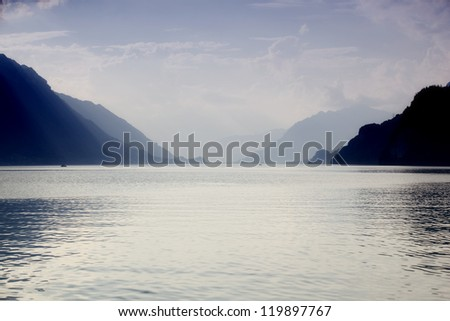 swiss lake in Brienz, Switzerland - stock photo
