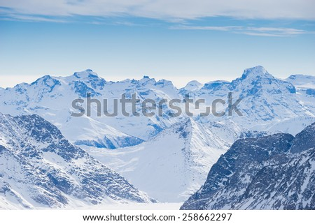 Swiss mountain, Jungfrau, Switzerland, ski resort - stock photo