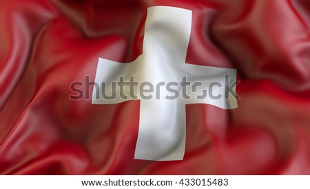 Swiss national flag waving in the wind 3d rendering - stock photo