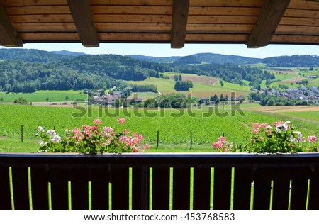 Swiss panorama from a balcony - stock photo
