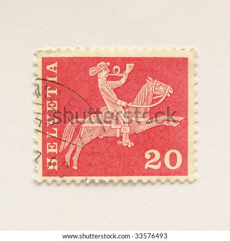Swiss Stamp of Switzerland (European Union) - stock photo