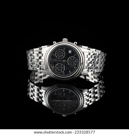 Swiss watches on black background. Product photography - stock photo