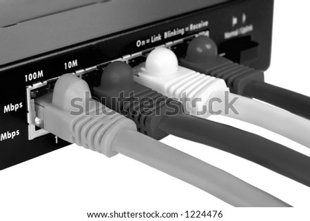 Switch and cables B&W Isolated on white - stock photo