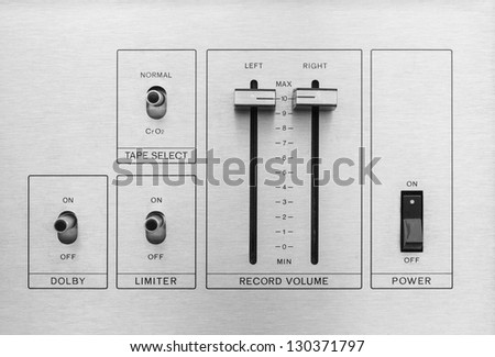 Switch and control sound audio - stock photo