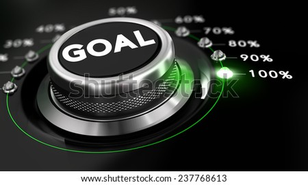 Switch button positioned on the number 100 percent, black background and green light. Conceptual image for illustration of goals achievement. - stock photo