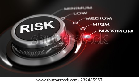 Switch button positioned on the word maximum, black background and red light. Conceptual image for illustration of high level of risks. - stock photo