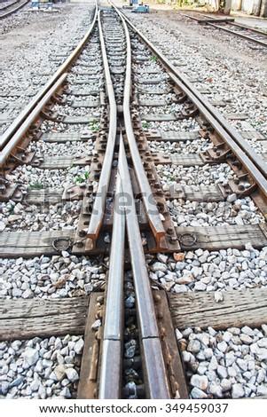 switch railway road - stock photo