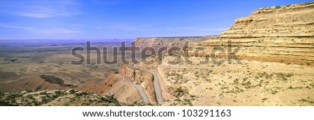 Switchback Road to Mule Point, Southeastern Utah - stock photo