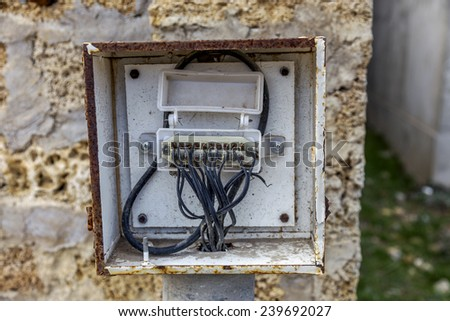 Switchboard. Control Panel Communication circuit for analog phones with wires - stock photo
