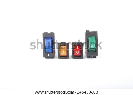 switches, blue orange green red service switch electronic part - stock photo