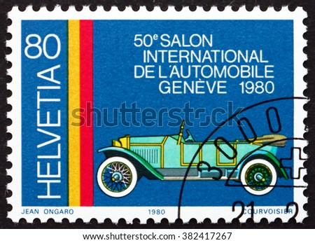 SWITZERLAND - CIRCA 1980: a stamp printed in Switzerland shows Pic-Pic, Swiss Automobile from 1930, 50th International Automobile Show, Geneva, circa 1980 - stock photo