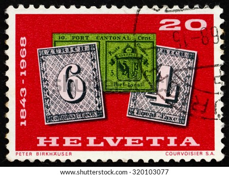 SWITZERLAND - CIRCA 1968: a stamp printed in the Switzerland shows Double Geneva and Zurich Stamps of 1843, circa 1968 - stock photo