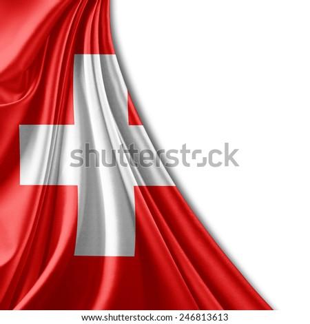 Switzerland flag and white background - stock photo