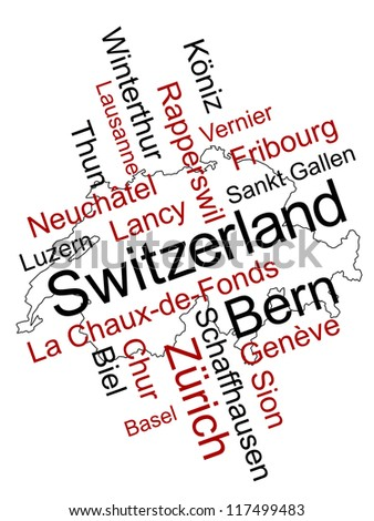 Switzerland map and words cloud with larger cities; eps vector version also available - stock photo