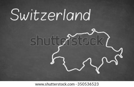 Switzerland map drawn on chalkboard. Chalk and blackboard. - stock photo