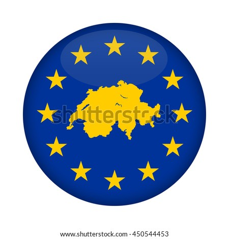 Switzerland map on a European Union flag button isolated on a white background. - stock photo