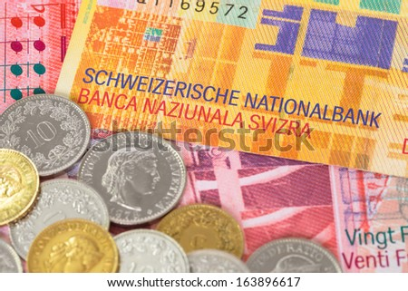 Switzerland money swiss franc banknote and coins close-up - stock photo