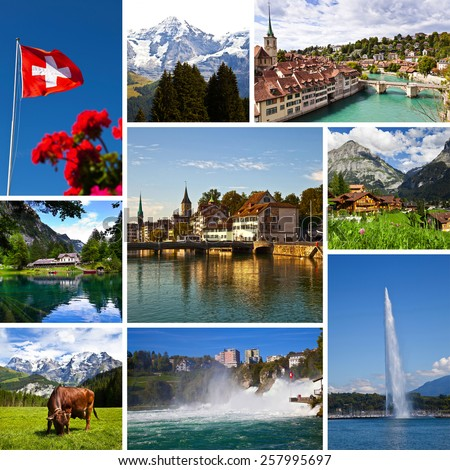 Switzerland Views Collage - stock photo